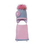 Комплект (шапка и шарф) HATTY Цветы (48 см) Ангора со светло-розовым (6/5-4-1ц-7пб)