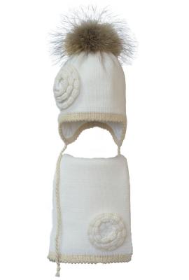 Комплект (шапка и шарф) HATTY (52см) Белый с золотом (6/1-19-2ц)