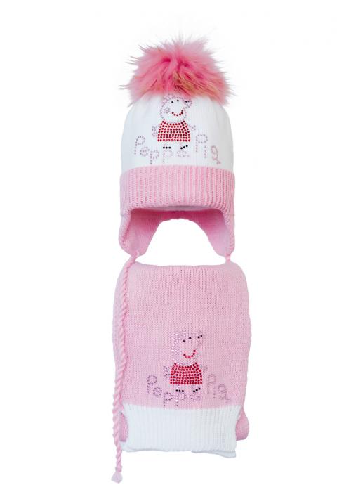Комплект (шапка и шарф) HATTY Свинка Пеппа (48 см) Белая со светло-розовым (4/1-4-5)