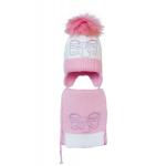 Комплект (шапка и шарф) HATTY Бант розовый (50 см) Белая со светло-розовым (4/1-4-11р)