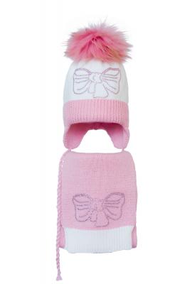 Комплект (шапка и шарф) HATTY Бант розовый (48см) Белая со светло-розовым (4/1-4-11р)