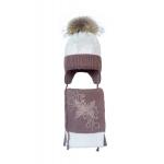 Комплект (шапка и шарф) HATTY Бабочка с узором (48 см) Белый с какао (4/1-7-10)