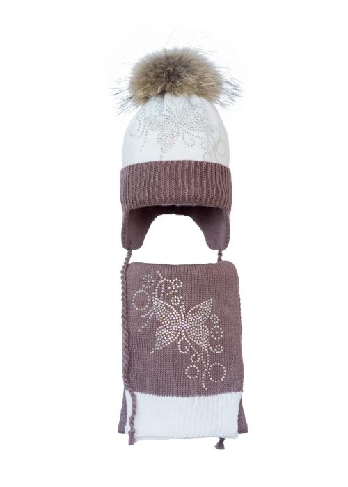 Комплект (шапка и шарф) HATTY Бабочка с узором (52 см) Белый с какао (4/1-7-10)