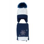 Комплект (шапка и шарф) HATTY Снежинка 4+1 (52см) Белый с темно-синим (4/1-10-7)
