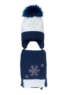 Комплект (шапка и шарф) HATTY Снежинка 4+1 (50 см) Белый с темно-синим (4/1-10-7)