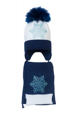 Комплект (шапка и шарф) HATTY Снежинка 6г (50 см) Белый с темно-синим (4/1-10-6г)