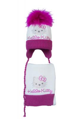 Комплект (шапка и шарф) HATTY  Hello Kitty малиновая (48 см) Белый с фуксией (4б.ш./1-14-1м)