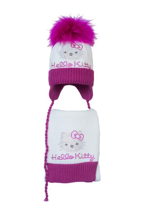 Комплект (шапка и шарф) HATTY  Hello Kitty малиновая (52 см) Белый с фуксией (4б.ш./1-14-1м)