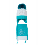 Комплект (шапка и шарф) HATTY Снежинка 3 (50 см) Белый с бирюзовым (4/1-9-8)