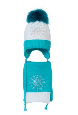 Комплект (шапка и шарф) HATTY Снежинка 3 (52 см) Белый с бирюзовым (4/1-9-8)