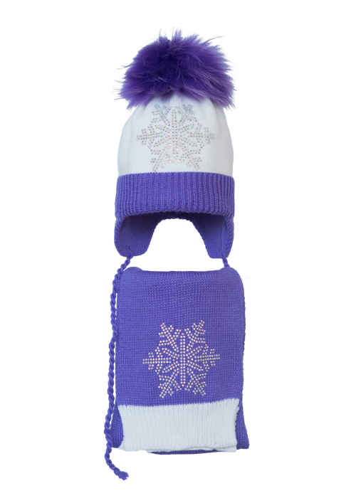 Комплект (шапка и шарф) HATTY Снежинка 6с (50 см) Белая с сиреневым (4/1-8-6с)