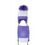 Комплект (шапка и шарф) HATTY Снежинка 3 (50 см) Белый с сиреневым (5/1-8-8)