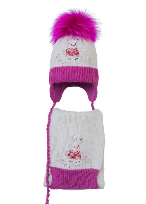 Комплект (шапка и шарф) HATTY Модель 5 Свинка Пеппа (50см) Жемчуг с фуксией (5/3-14-5)