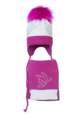 Комплект (шапка и шарф) HATTY Бабочки (50 см) Белый с фуксией (5/1-14-9)