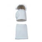 Комплект (шапка и шарф) HATTY Цветок (54 см) Белый (10/1-1ц)