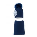 Комплект (шапка и шарф) HATTY Цветок (54 см) Темно-синий (10/10-1ц)