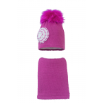 Комплект (шапка и шарф) HATTY Цветок (54 см) Фуксия (10/14-1ц)