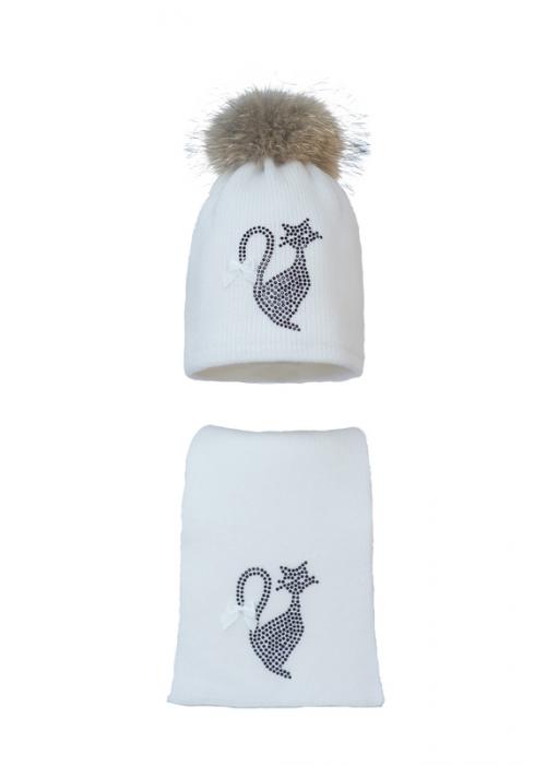Комплект (шапка и шарф) HATTY Кот (54 см) Белый (11/1-2б-12)