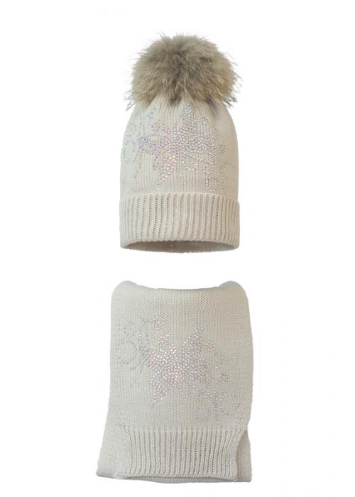 Комплект (шапка и шарф) HATTY Бабочка с узором (54 см) Жемчуг (7н/3-10)