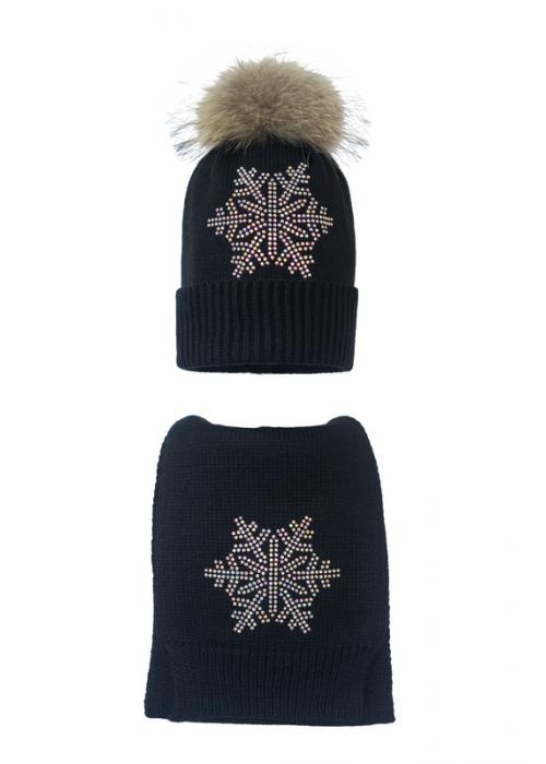 Комплект (шапка и шарф) HATTY Снежинка 6 серебро (54 см) Черный (7н/15-6с)
