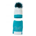 Комплект (шапка и шарф) HATTY Бант (54-56 см) Белый с бирюзовым (2н/1-9-11с)