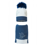 Комплект (шапка и шарф) HATTY Бабочки (54-56 см) Белый с синим темным меланжем (2н/1-12-9)