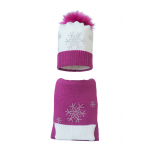 Комплект (шапка и шарф) HATTY Снежинка 4+1 (56 см) Белый с фуксией (7в/1-14-7)