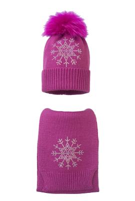 Комплект (шапка и шарф) HATTY Снежинка 3 (54 см) Фуксия (7н/14-8)