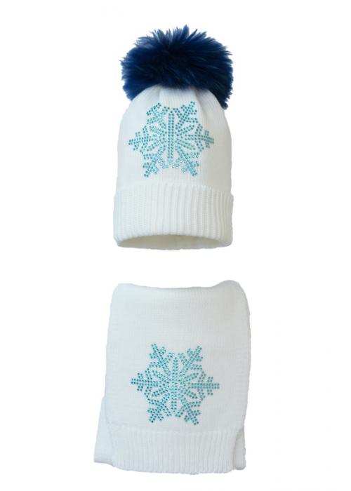 Комплект (шапка и шарф) HATTY Снежинка 6 голубая (54 см) Белый (7н/1-6г)
