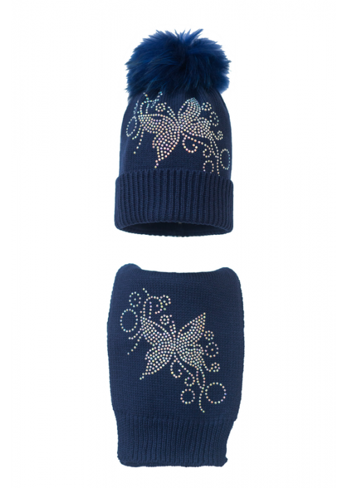 Комплект (шапка и шарф) HATTY Бабочка с узором (54 см) Темно-синий (7н/10-10)