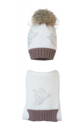 Комплект (шапка и шарф) HATTY Бабочки (54 см) Белый с какао (1н/1-7-9)