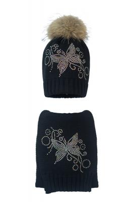 Комплект (шапка и шарф) HATTY Бабочка узор (54 см) Черный (1н/15-10)