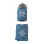 Комплект (шапка и шарф) HATTY Снежинка 6 серебро (54 см) Стальной (1н/6-6с)
