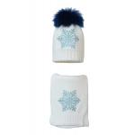 Комплект (шапка и шарф) HATTY Снежинка 6 голубая (54 см) Белый (1н/1-6г)