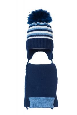 Комплект (шапка и шарф) HATTY (46см) Синий светлый меланж с темно синим с белым (4мп/11-10-1)