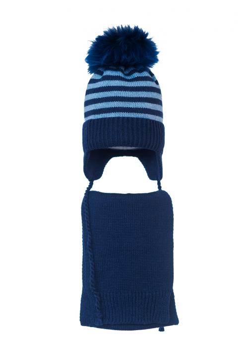 Комплект (шапка и шарф) HATTY Модель 4мп (50см) Синий светлый меланж с темно синим (4мп/11-10)
