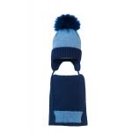 Комплект (шапка и шарф) HATTY Модель 4м (52см) Синий светлый меланж с темно синим (4м/11-10)
