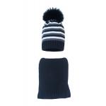 Комплект (шапка и шарф) HATTY (54 см) Черный/графит/белый (1мп/15-16-1)