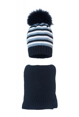 Комплект (шапка и шарф) HATTY (54 см) Черный/сталь/белый (1мп/15-6-1)
