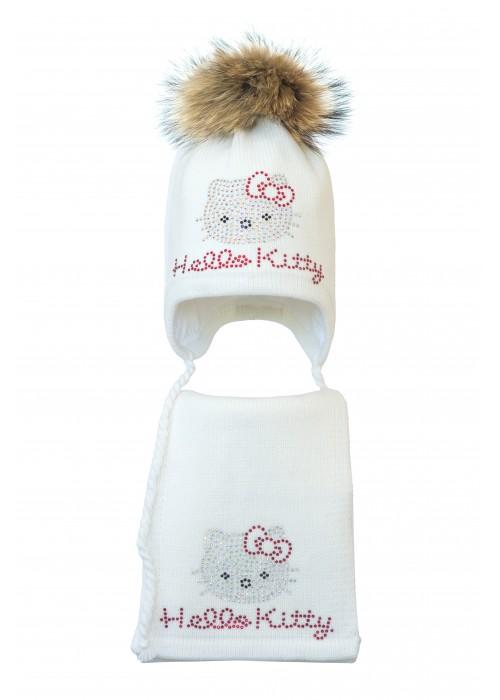 Комплект (шапка и шарф) HATTY Hello Kitty (52 см) Белый (3/1-1к)