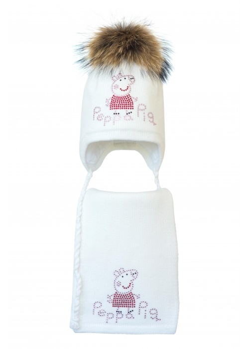 Комплект (шапка и шарф) HATTY Свинка Пеппа (54 см) Белый (3/1-5)