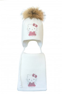 Комплект (шапка и шарф) HATTY Китти в платье (46 см) Белый (3/1-2)
