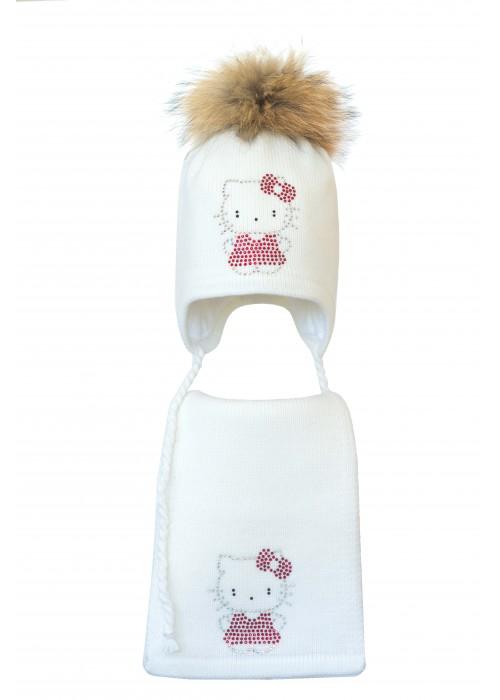 Комплект (шапка и шарф) HATTY Китти в платье (52 см) Белый (3/1-2)