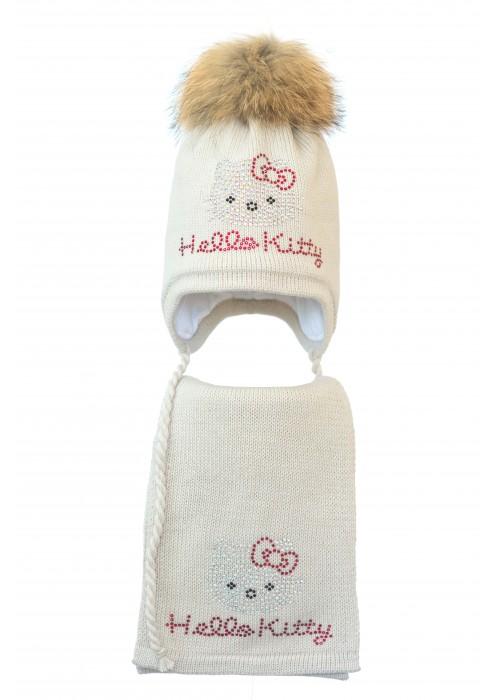 Комплект (шапка и шарф) HATTY Hello Kitty (54 см) Жемчуг (3/3-1к)