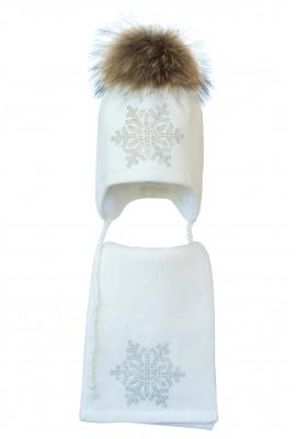Комплект (шапка и шарф) HATTY Снежинка 6 серебро (54 см) Белый (3/1-6с)