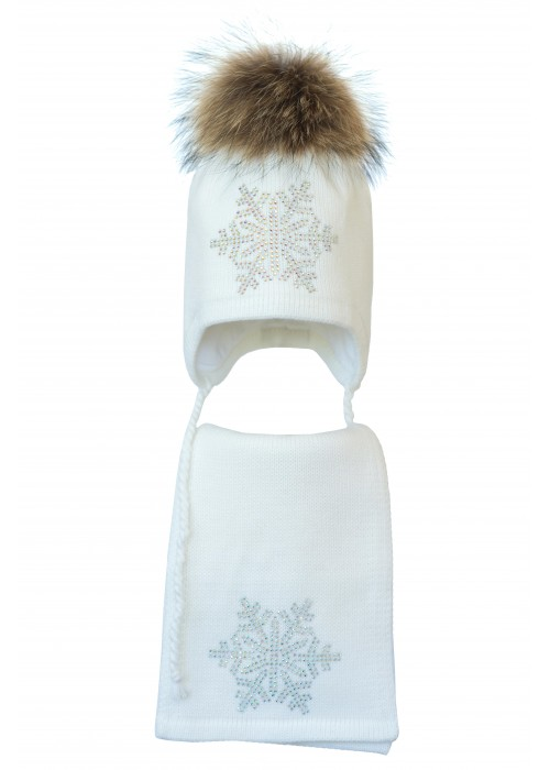 Комплект (шапка и шарф) HATTY Снежинка 6 серебро (48 см) Белый (3/1-6с)