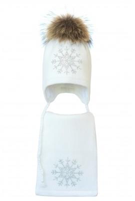 Комплект (шапка и шарф) HATTY Снежинка 3 (52 см) Белый (3/1-8)