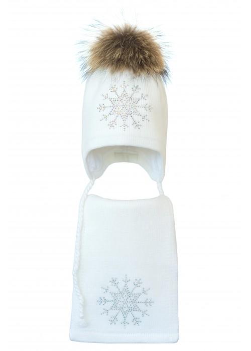 Комплект (шапка и шарф) HATTY Снежинка 3 (50 см) Белый (3/1-8)