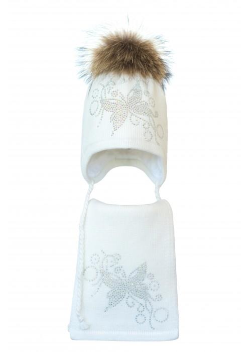 Комплект (шапка и шарф) HATTY Бабочка с узором (52 см) Белый (3/1-10)
