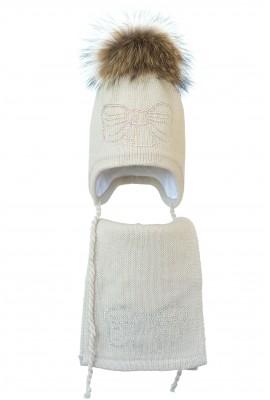 Комплект (шапка и шарф) HATTY Бант серебро (54 см) Жемчуг (3/3-11с)